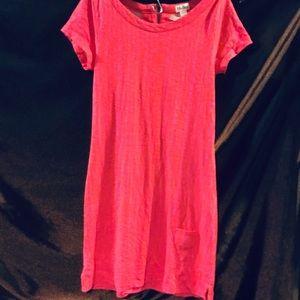 Pink and orange midi dress with tiny pocket